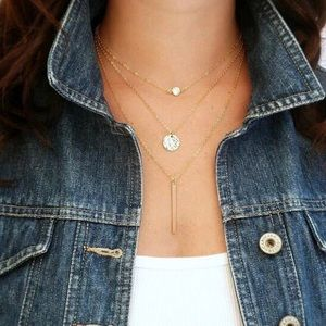 Boho Layered Coin Chain Bar Gold Necklace